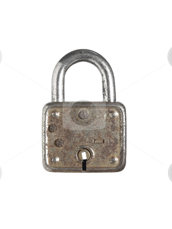 Old key stock photo, A closed lock isolated on white background. by Ignacio Gonzalez Prado