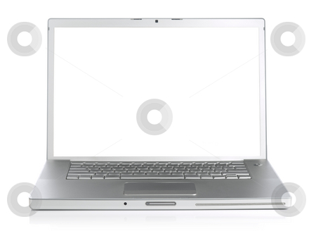 Laptop stock photo, Wide screen silver laptop computer over a white background. by Ignacio Gonzalez Prado