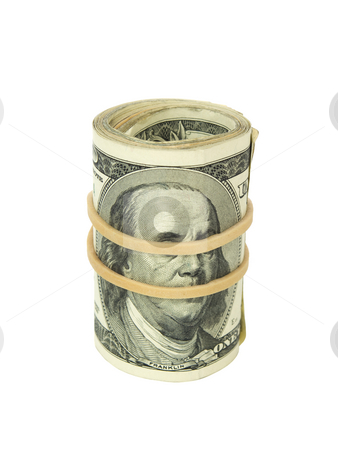Roll of bills stock photo, A roll of one hundred dollar bills wrapped with a rubber band. by Ignacio Gonzalez Prado