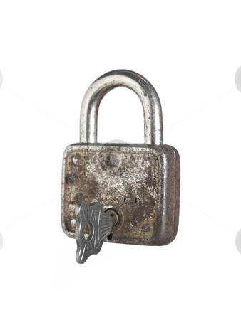 Lock and key stock photo, A closed lock with a key isolated on white background. by Ignacio Gonzalez Prado