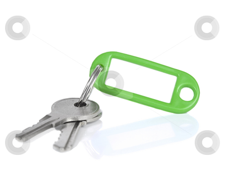Green keyring stock photo, Two keys on a blank keyring with space for text, isolated on white. by Ignacio Gonzalez Prado