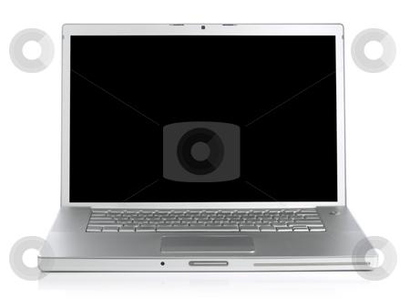Laptop stock photo, Wide screen silver laptop computer over a white background. by Ignacio Gonzalez Prado