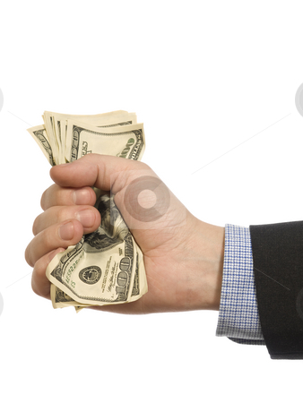 A fistful of dollars stock photo, A man's hand holding a handful of dollars. by Ignacio Gonzalez Prado