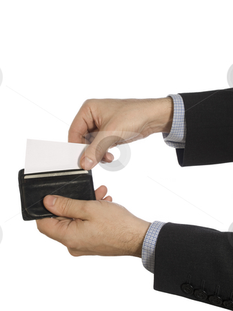 White card from wallet stock photo, Two hands pull out a white card from a black leather wallet. by Ignacio Gonzalez Prado