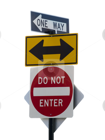 Street signs stock photo, Three street signs over a white background. by Ignacio Gonzalez Prado
