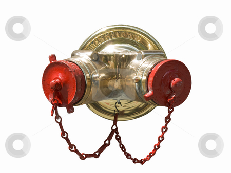 Standpipe stock photo, A standpipe with tow chains hanging isolated on white. by Ignacio Gonzalez Prado