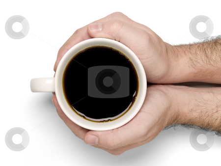 Holding a cup of coffee stock photo, Tow hands holding a cup of fresh coffe. by Ignacio Gonzalez Prado