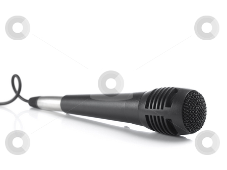 Black microphone stock photo, A black microphone isolated on white background. by Ignacio Gonzalez Prado