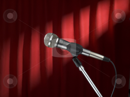 Mic on stage stock photo, A microphone on stage over a red background. by Ignacio Gonzalez Prado