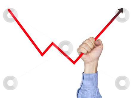 Help your own business stock photo, A man's hand holding the chart arrow. Isolated on white. by Ignacio Gonzalez Prado