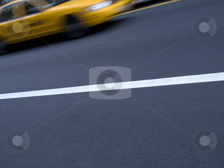 Streets of New York stock photo, A New York yellow cab in motion on the street. by Ignacio Gonzalez Prado
