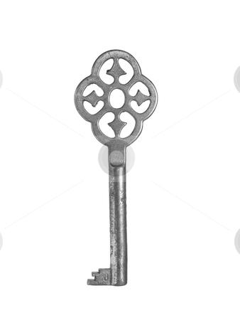 Old key stock photo, An old fashion key over a white background. by Ignacio Gonzalez Prado