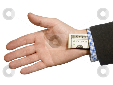One hundred up your sleeve  stock photo, A man's hand hiding a one hundred dollar bill up his sleeve. by Ignacio Gonzalez Prado
