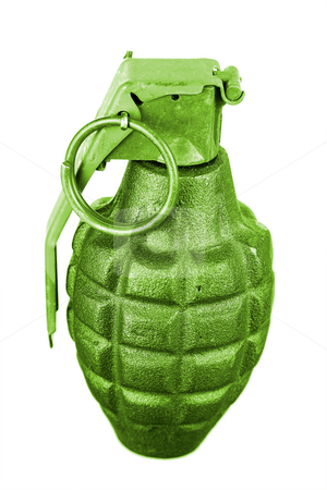 Grenade Isolated stock photo, A close up on an isolated hand grenade. by Travis Manley