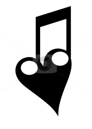 Listen to your heart stock photo, A bond of a heart with two notes. The love of music... by Reinhart Eo
