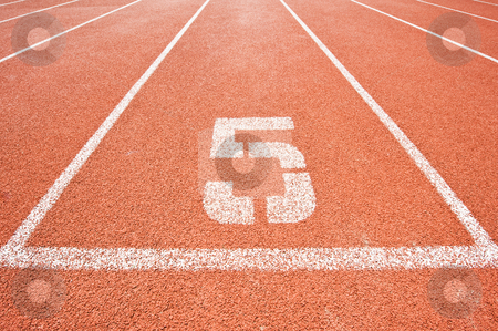 Lane five stock photo, Lane five on a running track at the starting line of the sprint by Corepics VOF