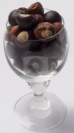 Nutty wine stock photo, Wine glass fill with chestnut by Yann Poirier