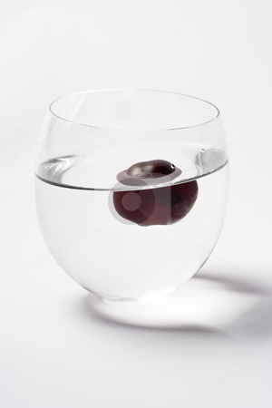 One floating nut stock photo, One chestnut floating in a glass of water by Yann Poirier