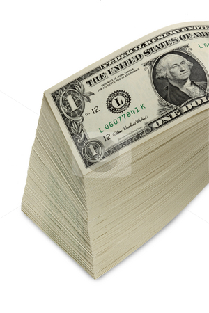 Stack of dollars stock photo, Tall stack of dollar bills by James Barber