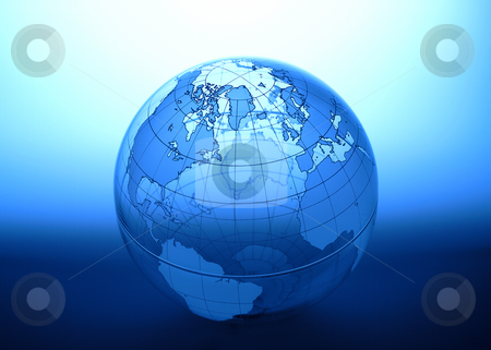 Blue Globe stock photo, Blue transparent globe shot on blue modulated background by James Barber