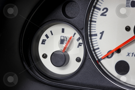 Gas gauge stock photo, Close up shot of automobile gas gauge by James Barber