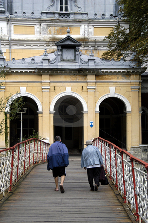 To the Imperial Baths stock photo, Romania, Spa Town of Baile Herculane, Baile Imperiale (the Imperial Baths), bridge over the Cerna River by David Ryan