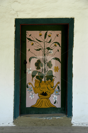 Painted Door stock photo, Romania, Bucharest, The Village Museum, A Painted Door on a village house by David Ryan