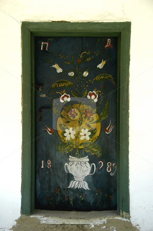 Painted Door stock photo, Romania, Bucharest, The Village Museum, A Painted Door on a village house (1889) by David Ryan