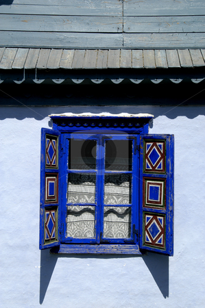 Shuttered Window stock photo, Romania, Bucharest, The Village Museum, A Window on a village house by David Ryan