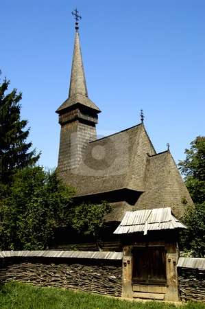 Dragomiresti Church stock photo, Romania, Bucharest, The Village Museum, Wooden Church from Dragomiresti (Maramures) by David Ryan