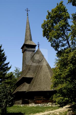 Dragomiresti Church stock photo, Romania, Bucharest, The Village Museum, Wooden Church from Dragomiresti (Maramures) by David Ryan