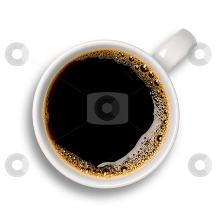 Cup of coffee stock photo, Top view of an isolated cup of coffee with some bubbles. by Ignacio Gonzalez Prado