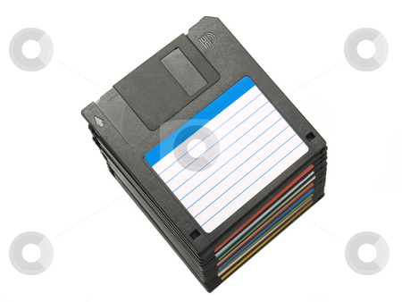 Diskettes stock photo, Isolated pile of several three and a half diskettes. by Ignacio Gonzalez Prado