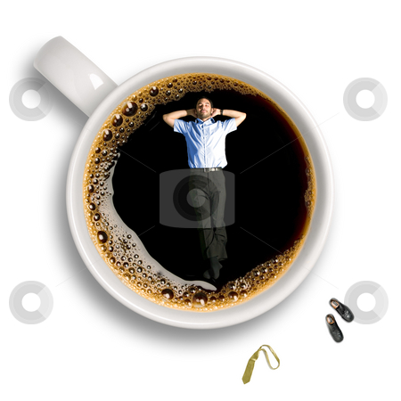 Coffee break stock photo, Top view of a young business man taking a nap inside an isolated cup of coffee with his tie and shoes sitting aside. by Ignacio Gonzalez Prado