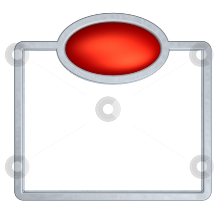 Metal frame stock photo, Metal frame and red button on white background - 3d illustration by J?