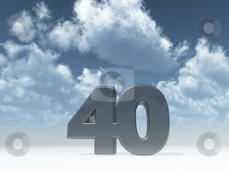 Forty stock photo, The number forty - 40 -  in front of blue sky - 3d illustration by J?
