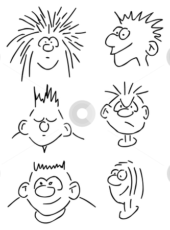Comic faces stock photo, Six hand drawn comic faces by J?