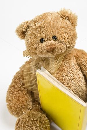 Teddy bear reading stock photo, Small teddy bear reading a book by Yann Poirier