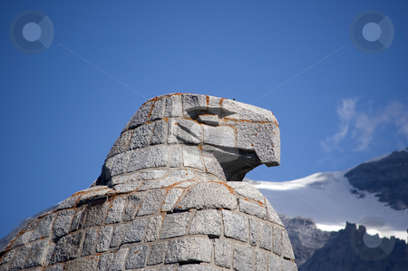 Eagle statue stock photo, A statue of an eagle, head details, mountains in background by Roberto Marinello