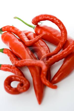 Red hot chili pepper stock photo, Red chili pepper as seasoning ingredients isolated on white by R. Eko Bintoro