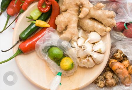 Seasoning ingredients stock photo, Variety of seasoning ingredients on white background by R. Eko Bintoro