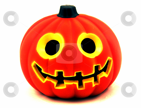 Smiling Skull stock photo, Halloween concept, smile on a pumpkin by Cora Reed