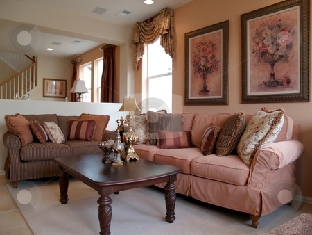 Pretty room stock photo, Pretty living room in pale pinks by Cora Reed