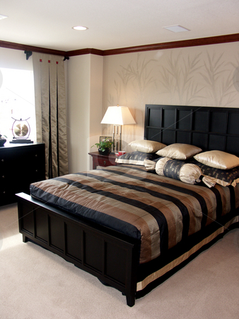 Bedroom stock photo, Pretty bedroom in luxury home by Cora Reed