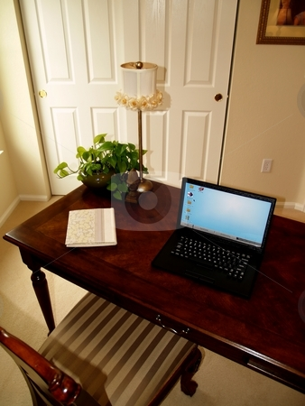 Home office stock photo, Home office with table and laptop by Cora Reed