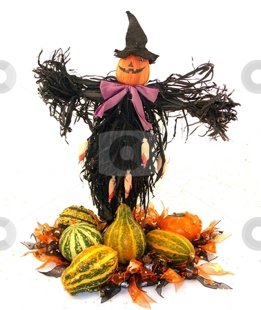Holiday center piece stock photo, Scare crow in a centerpiece by Cora Reed