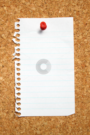 Blank page from a notebook attached to a cork noticeboard. stock photo, Blank page from a notebook attached to a cork noticeboard. by Stephen Rees
