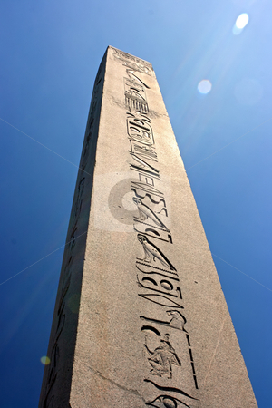 Egyptian obelisk stock photo, Egyptian obelisk in Istanbul Turkey and blue sky as background by Dmitry Rostovtsev