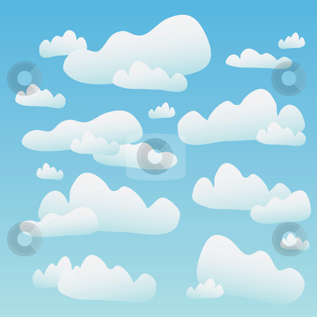 Fluffy Blue Clouds  stock photo, A blue sky full of fluffy cartoon clouds. This tiles seamlessly as a pattern horizontally. by Todd Arena