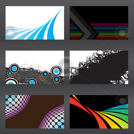 Abstract Business Cards stock photo, An assortment of six modern business card templates that are print ready with bleeds. Easily add your text and logo. by Todd Arena